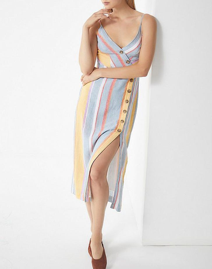 urban outfitters striped linen midi dress