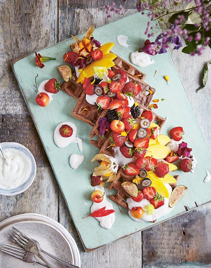 Vegan Buckwheat Waffles with Strawberries