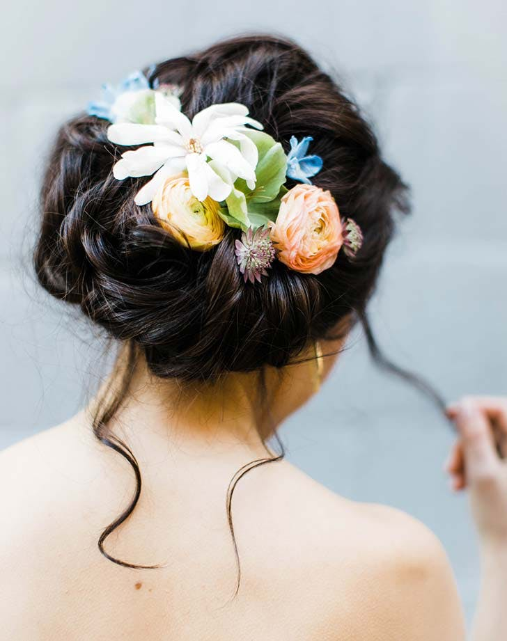 wedding hairstyle with flowers 1