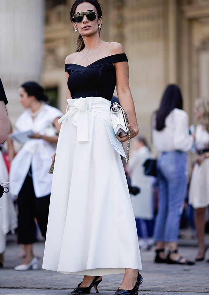 woman wearing off the shoulder top and long skirt