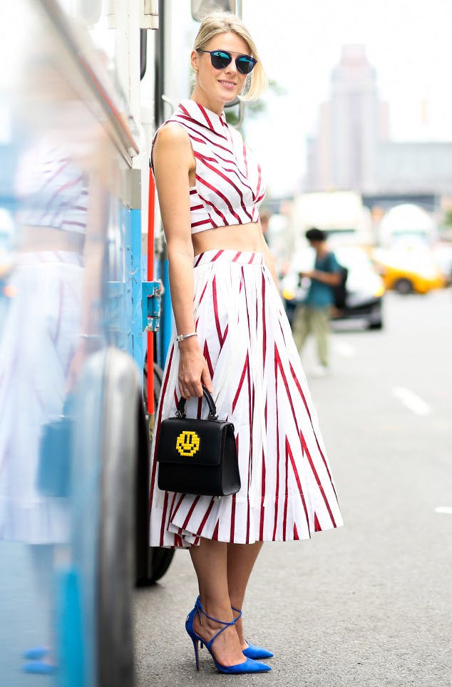 woman wearing a red and white stripe matching set