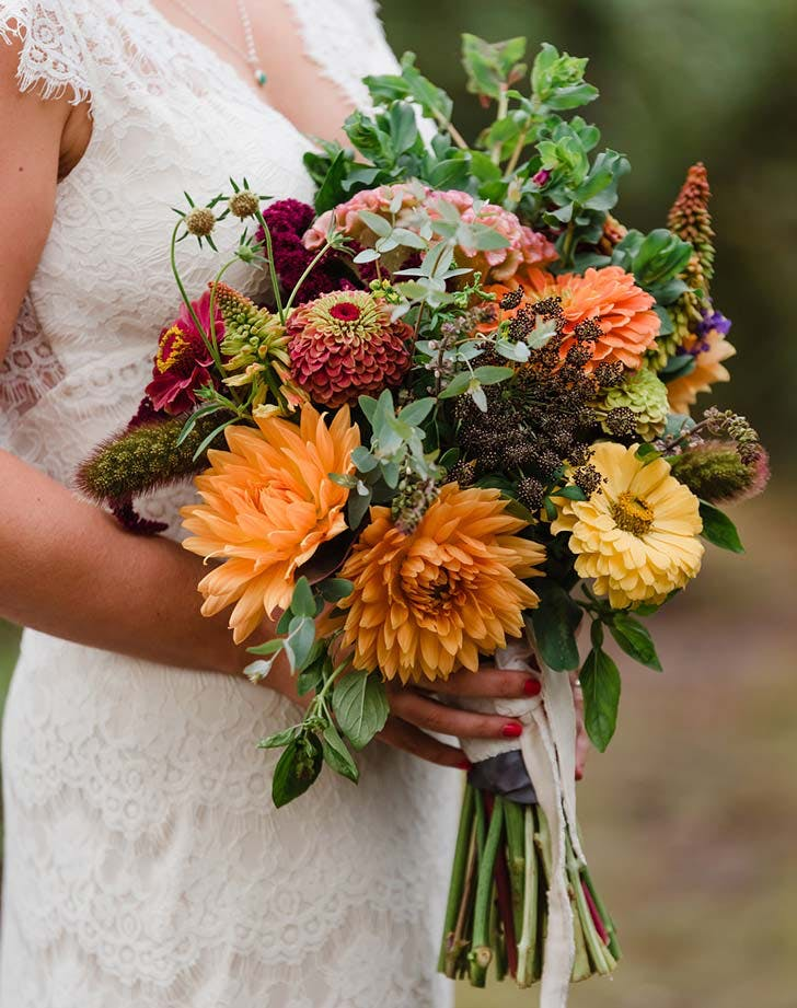 zinnia wedding bouquet 2