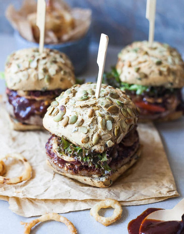 Beer Braised Onion Burgers recipe