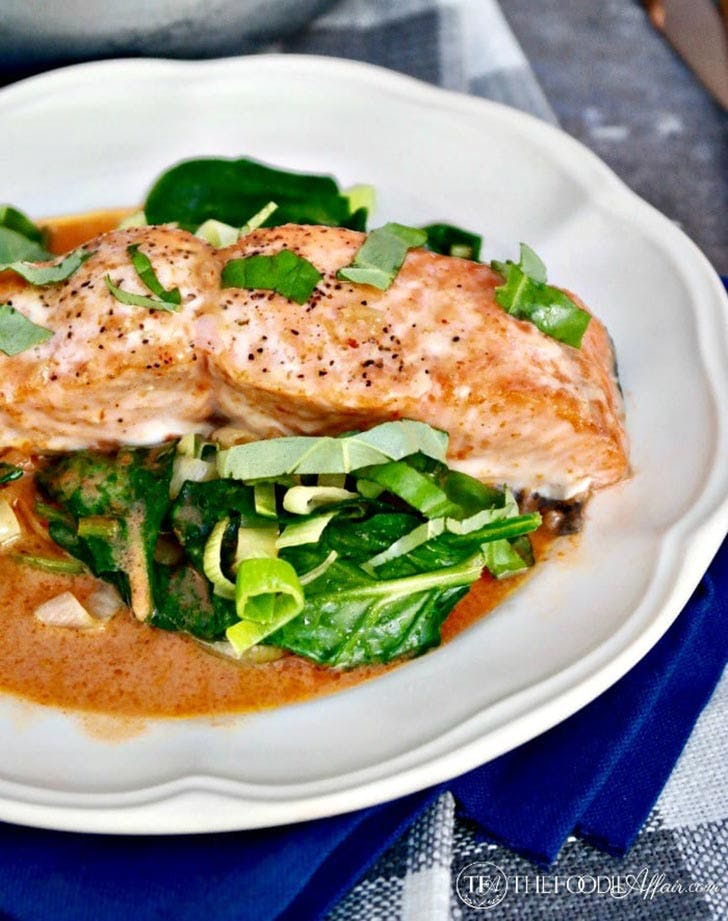 Clean Keto Salmon Coconut Red Curry Sauce