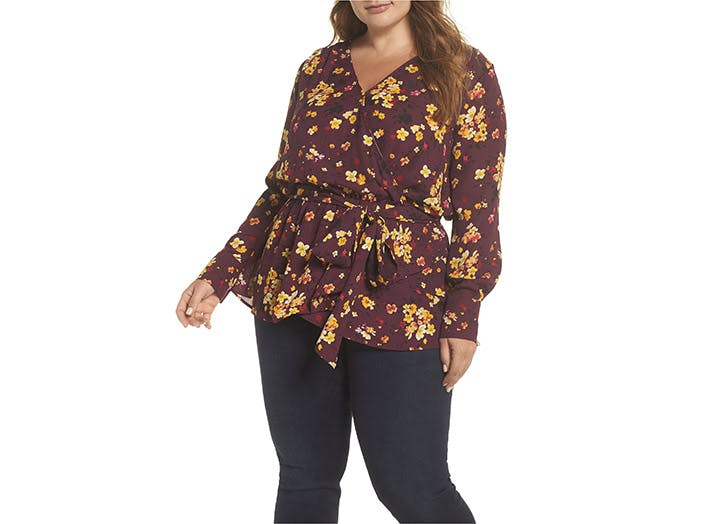 Gibson floral wrap blouse