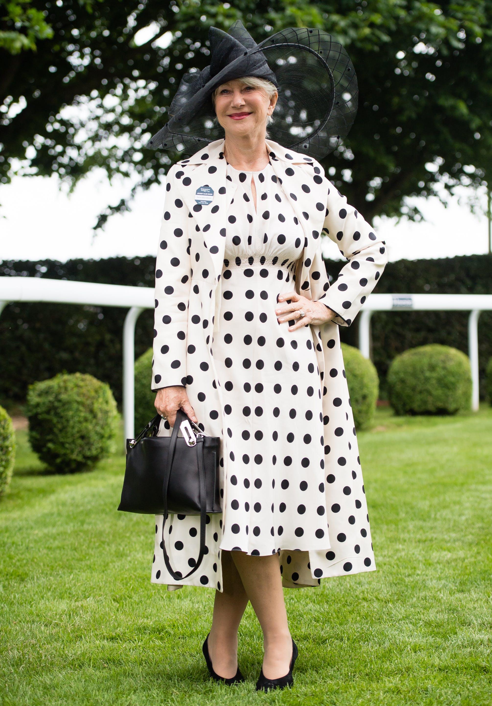 e15631f20c6 Helen Mirren wearing a polka dot coat and matching dress