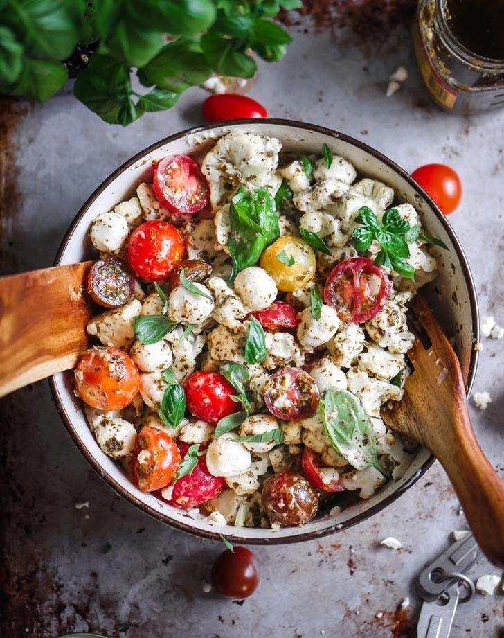 Keto Cauliflower Caprese Salad Plant Based Recipe