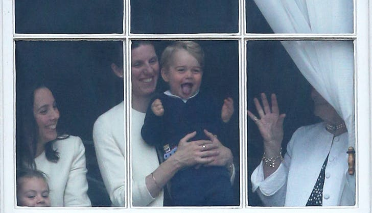 Prince George sticking his tongue out