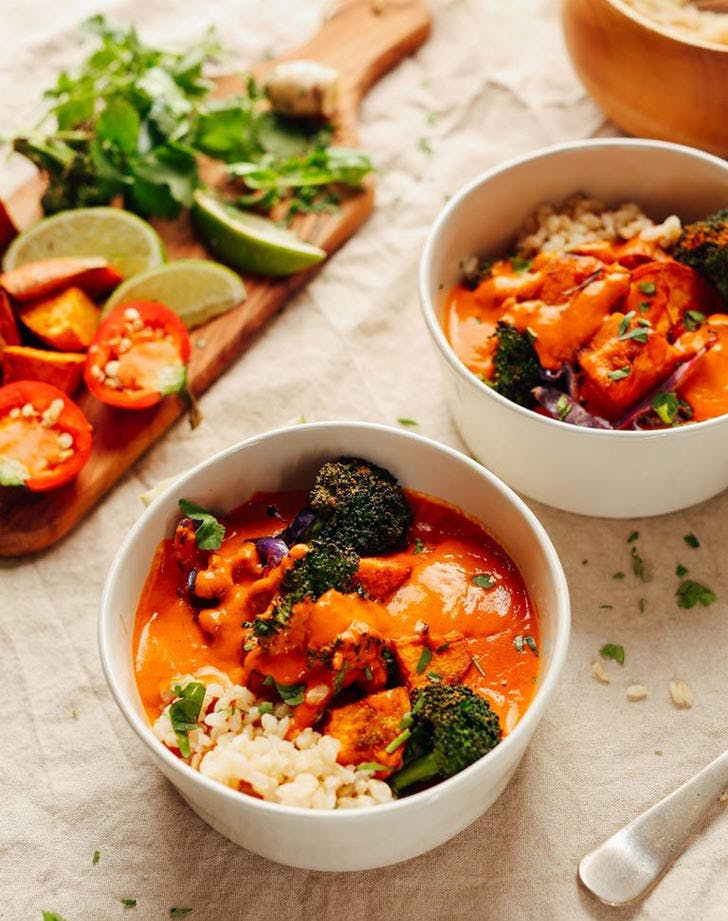 Rich Red Curry with Roasted Vegetables Plant Based Recipe