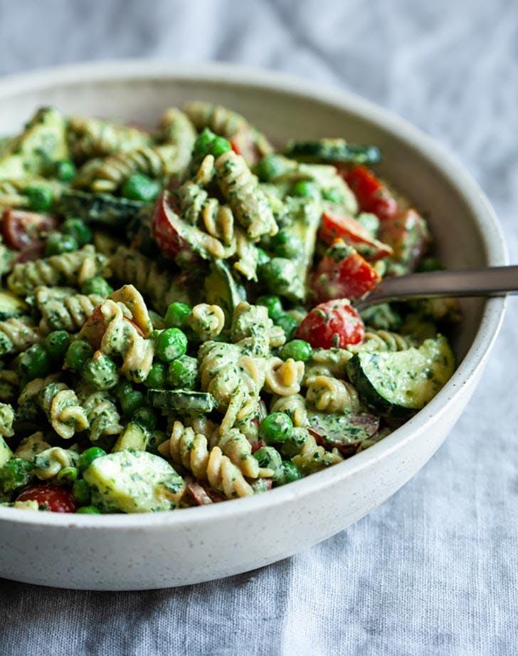 Tahini Pesto Pasta Salad Plant Based Recipe