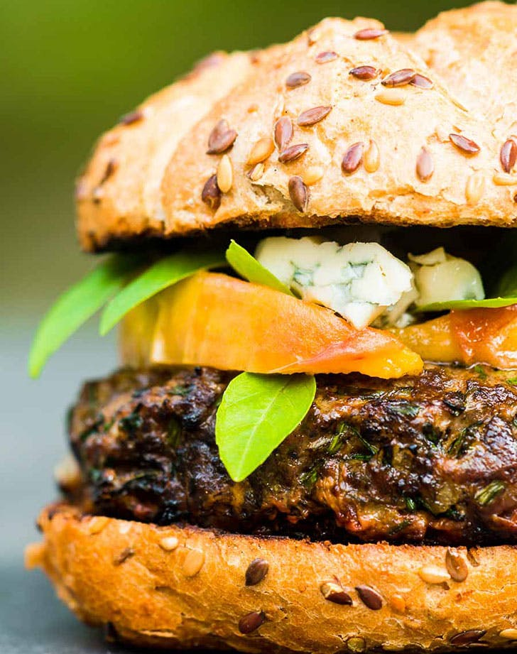 Venison Burger With Peaches And Blue Cheese recipe