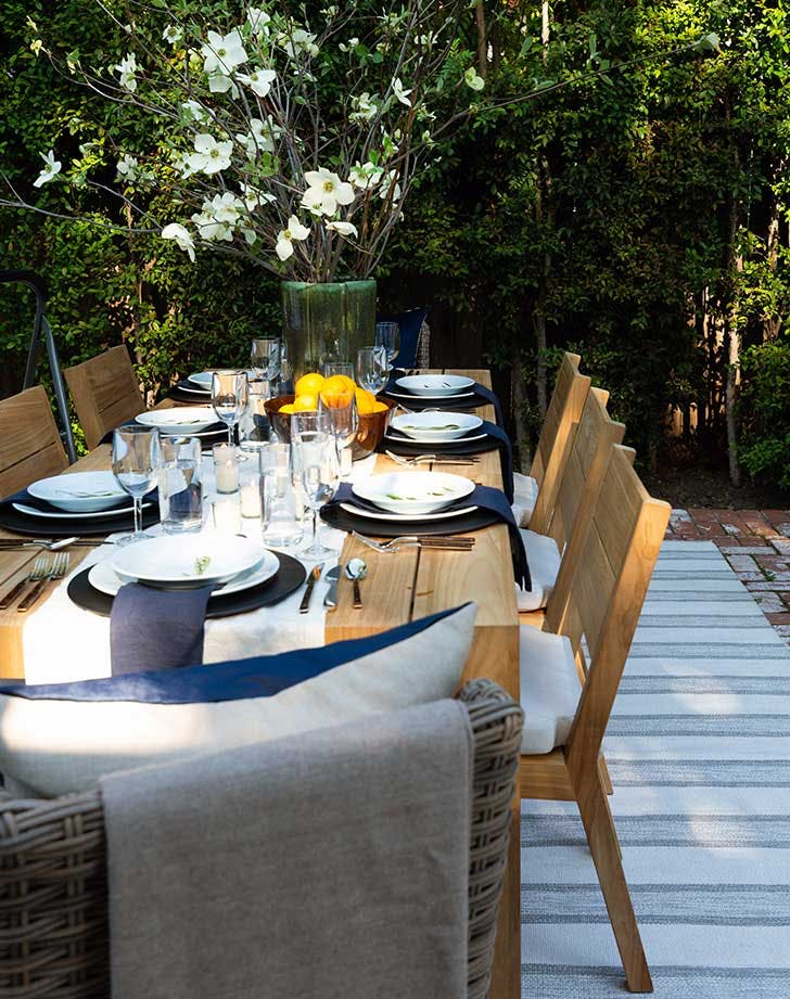 backyard table with neutral theme