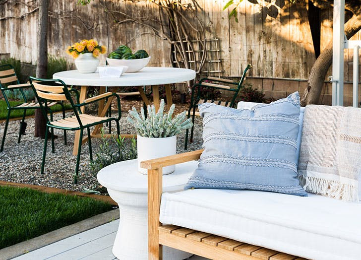 backyard with soft cozy accessories