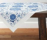blue embroidered table topper