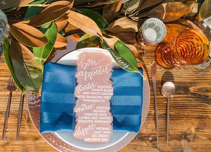 botanical place card boho wedding