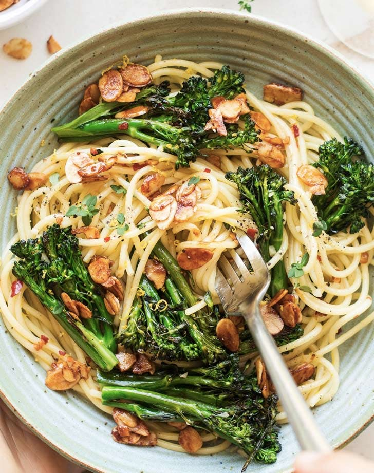 broccoli pasta almond bacon