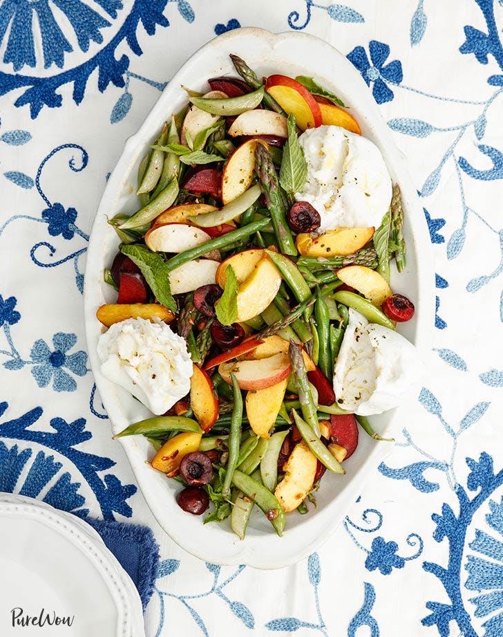 burrata salad with stone fruit and asparagus recipe