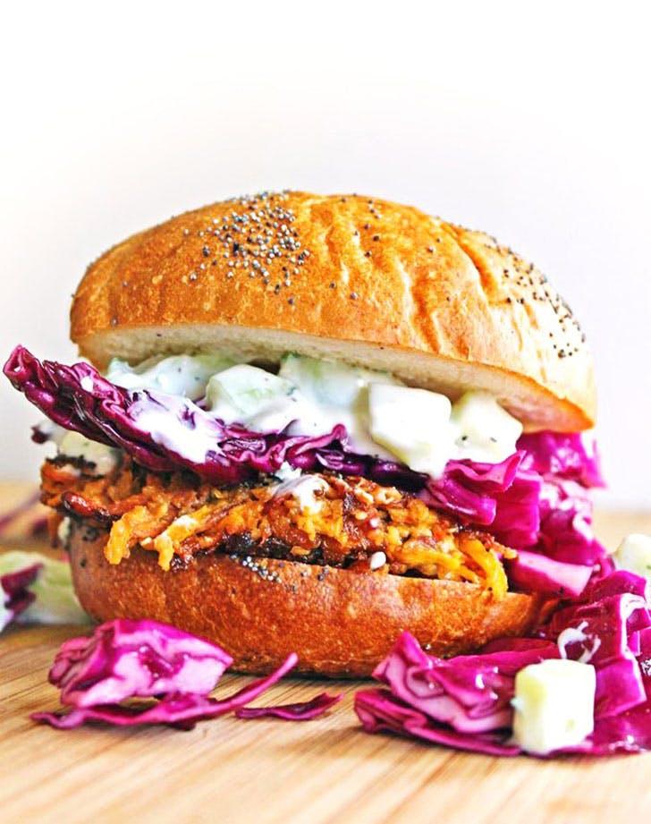 carrot tahini quinoa burgers with tzatziki recipe