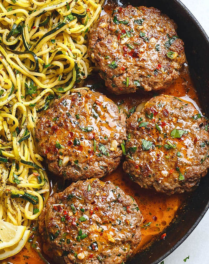 cheesy garlic burgers lemon butter zucchni noodles recipe