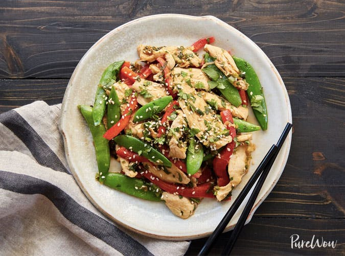 chicekn snap pea stirfry