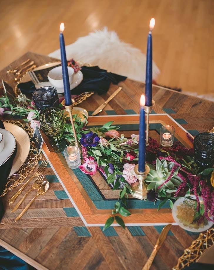colored candlestick wedding decor