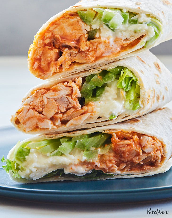 Buffalo Chicken Wraps with Blue Cheese and Celery