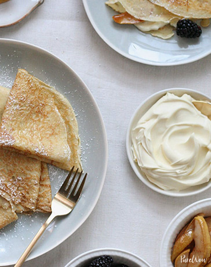 crepes carmelized pears