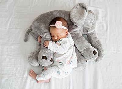 cute sleeping baby with elephant stuffed toy 400