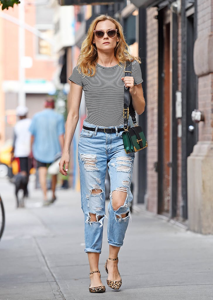 diane kruger wearing jeans and striped tee1