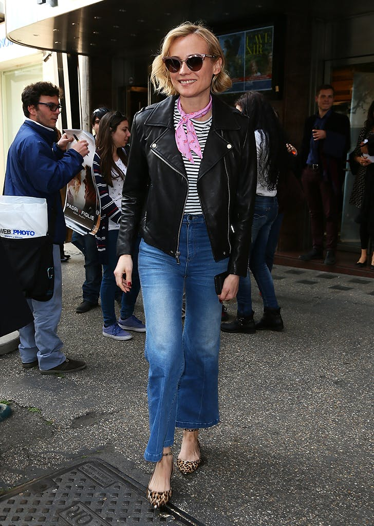 diane kruger wearing striped tee and moto jacket1