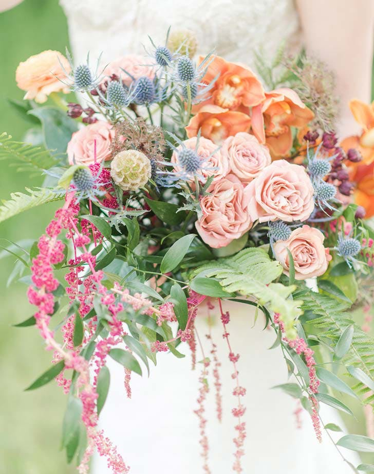 eclectic colorful wedding bouquet