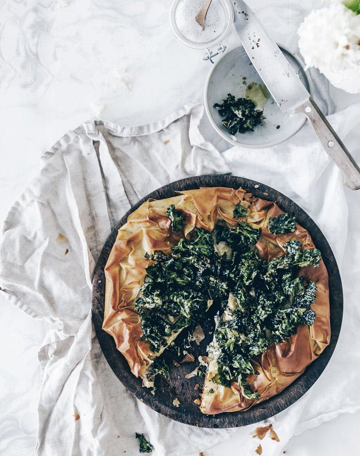 filo galette with truffle cashew cream recipe