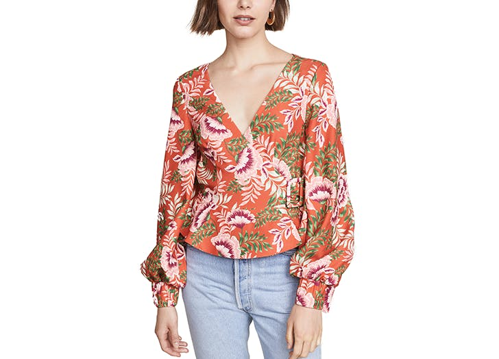 finders keepers floral wrap top