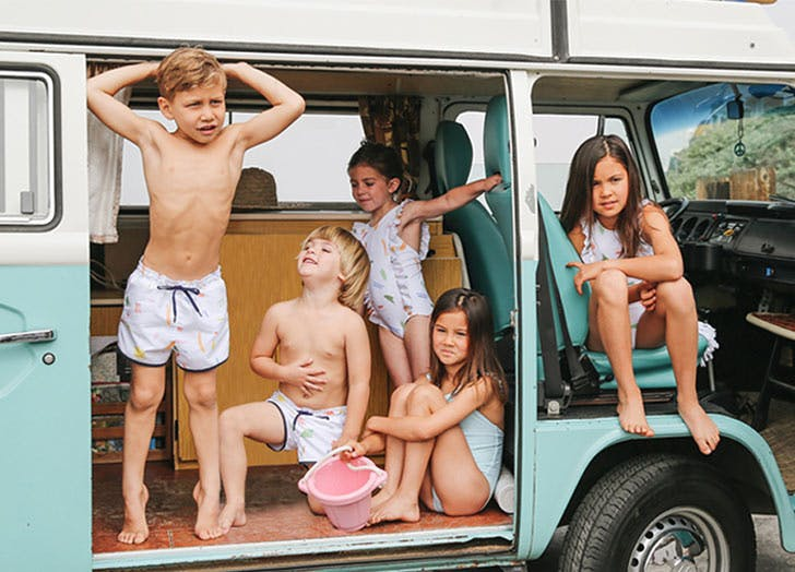 five kids in blue van
