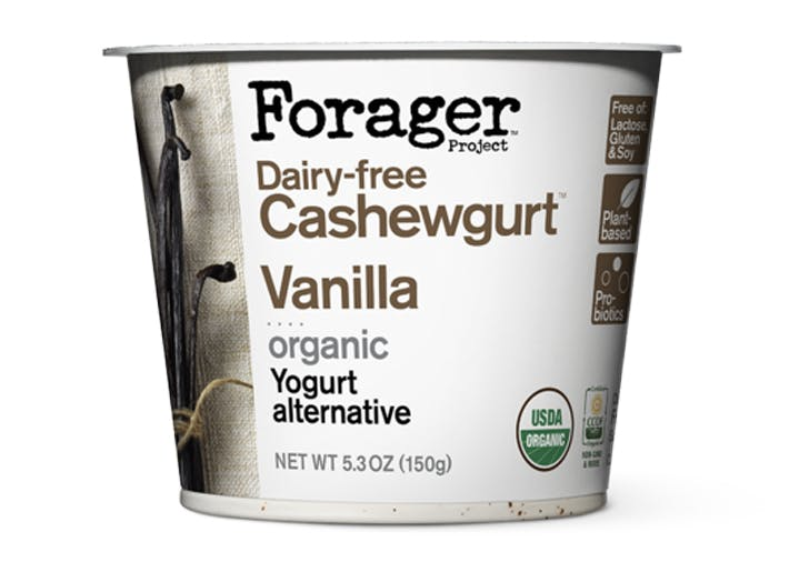 forager dairy free cashewgurt canilla organic white container