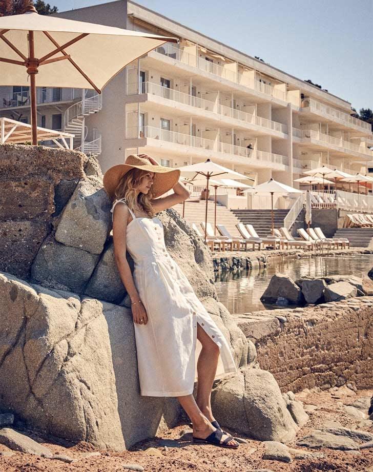 girl hotel hat dress beach