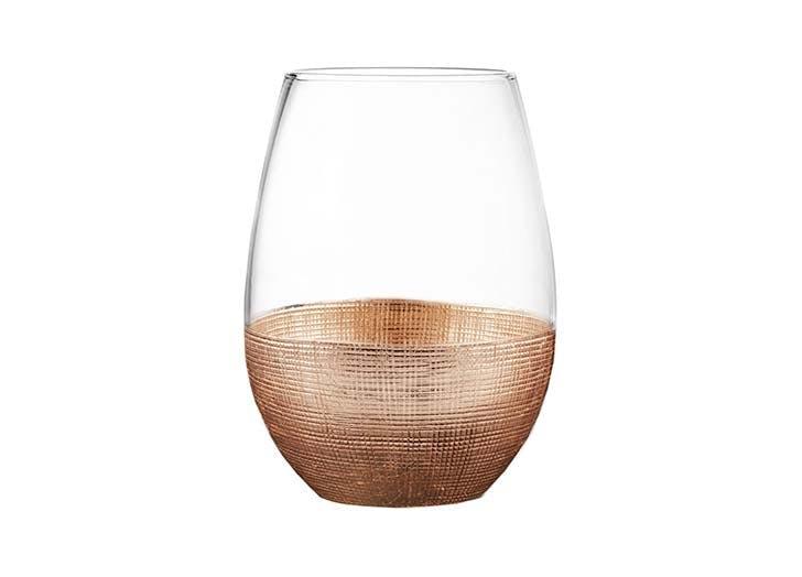 gold stemless wine glass
