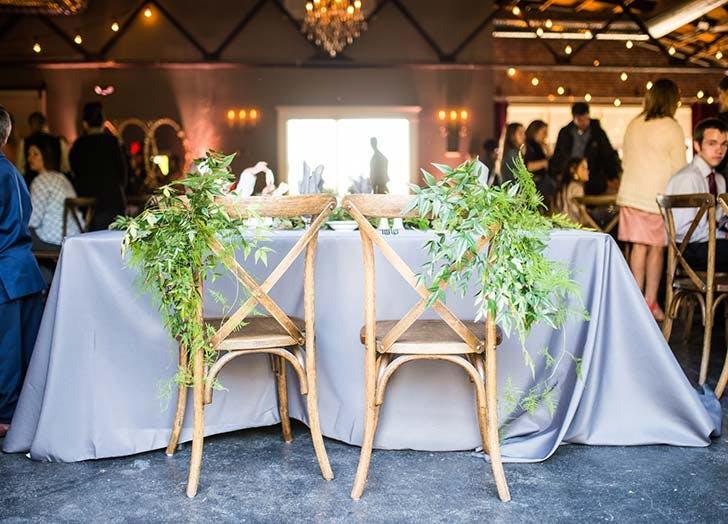 greenery decor chairs wedding