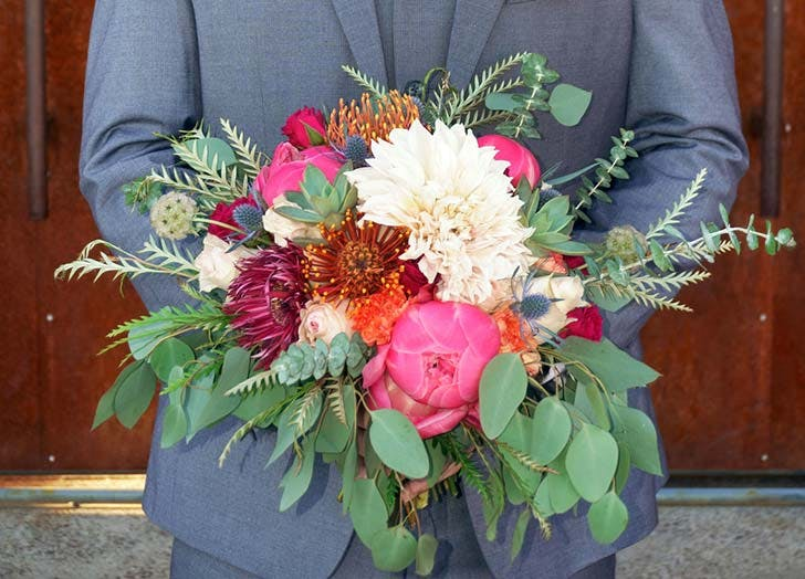 greens peonies wedding bouquet