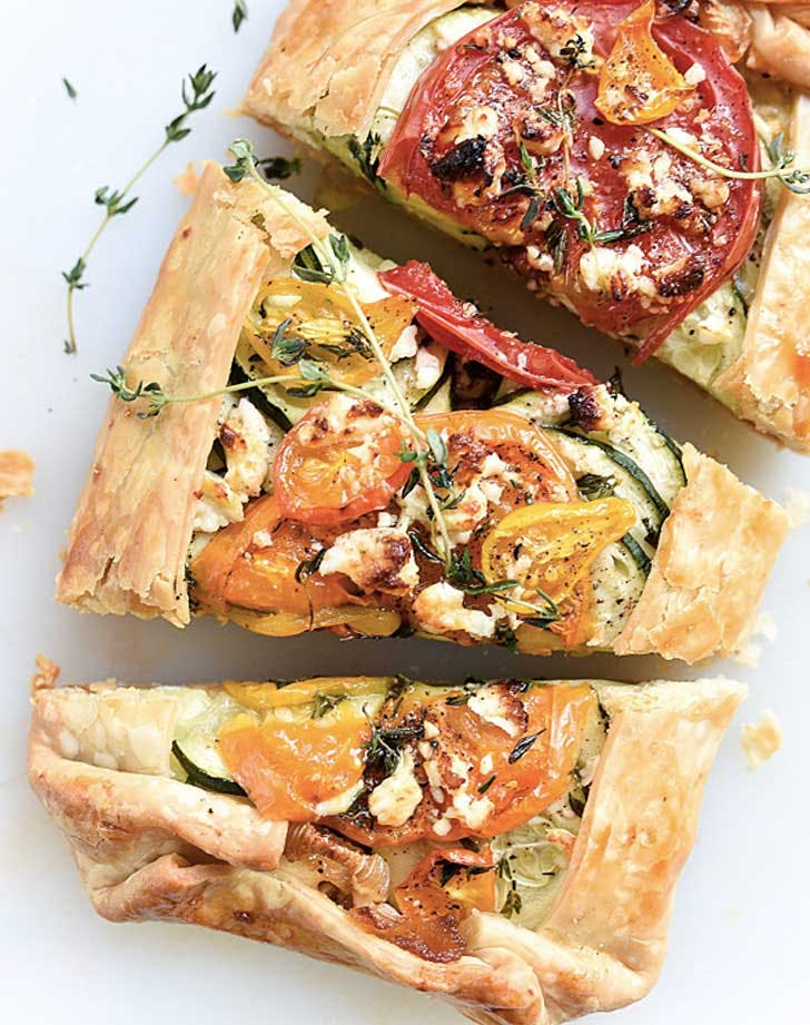 heirloom tomato zucchini caramelized onion feta galette recipe