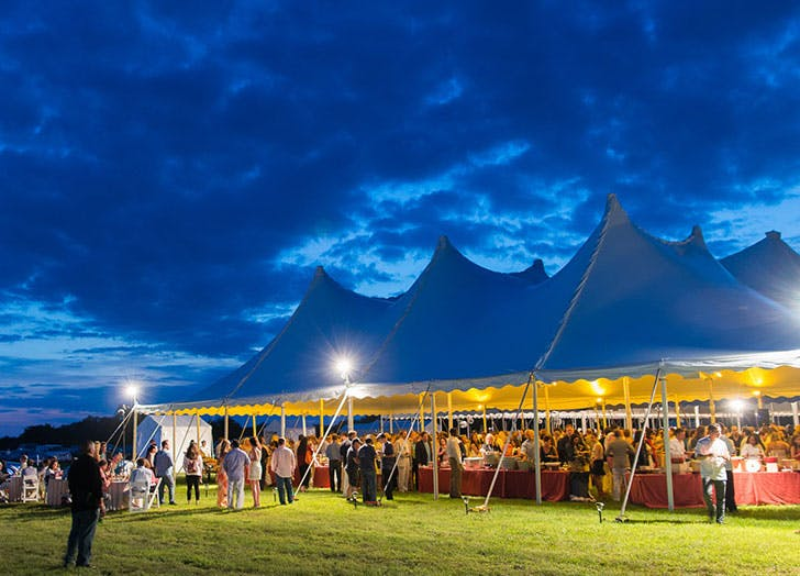 james beard champagne and chefs tent blue sky