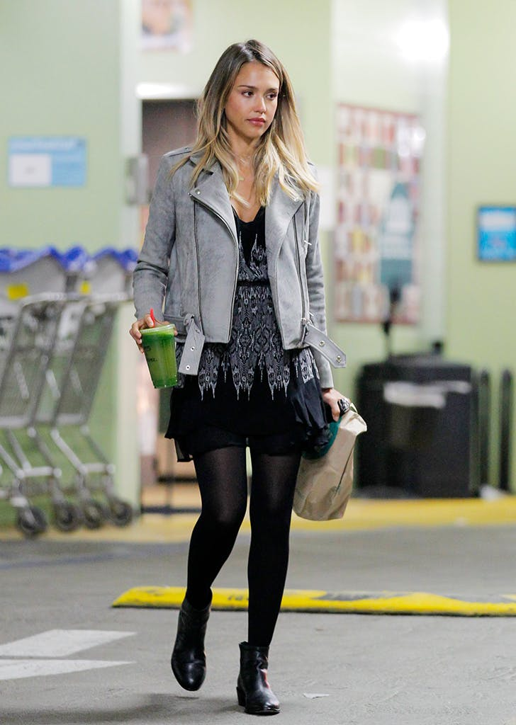 jessica alba wearing a gray moto jacket and black dress1