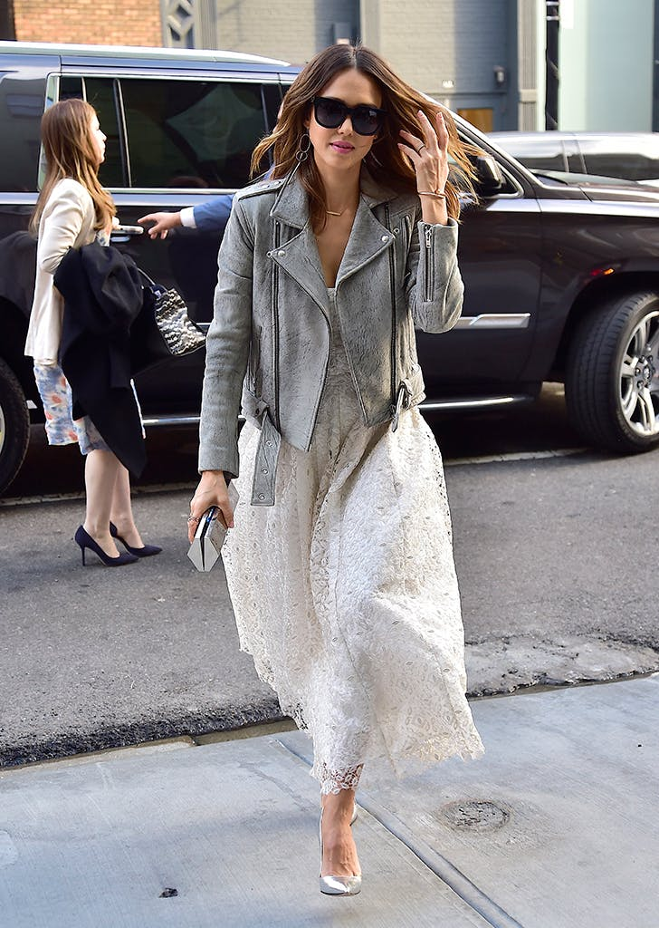 jessica alba wearing a gray moto jacket and white dress1