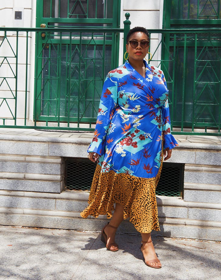 kelly augustine wearing a printed maxi dress
