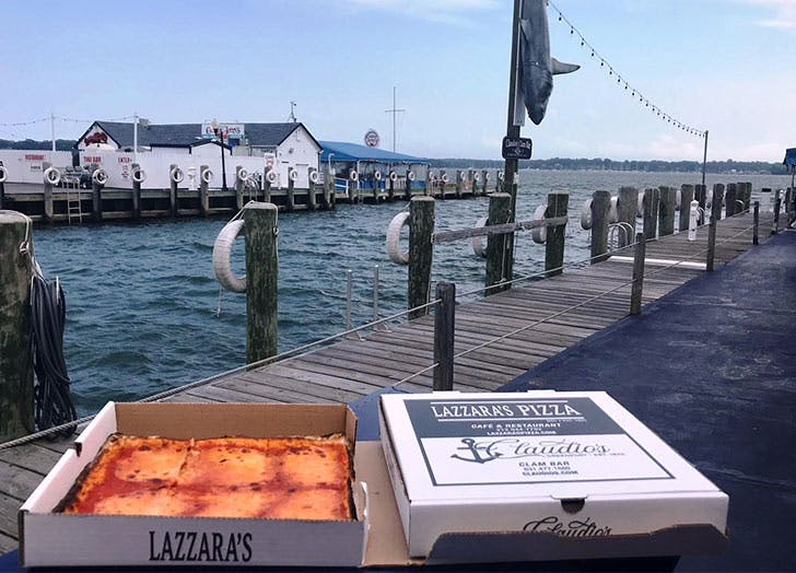 lazzara pizza water in background