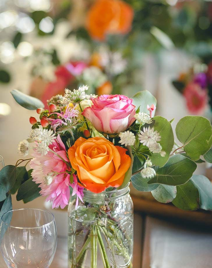 mason jar arrangement wedding