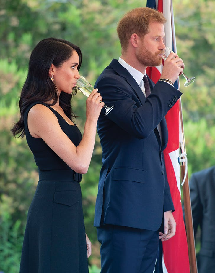 meghan markle prince harry drinking champage ireland