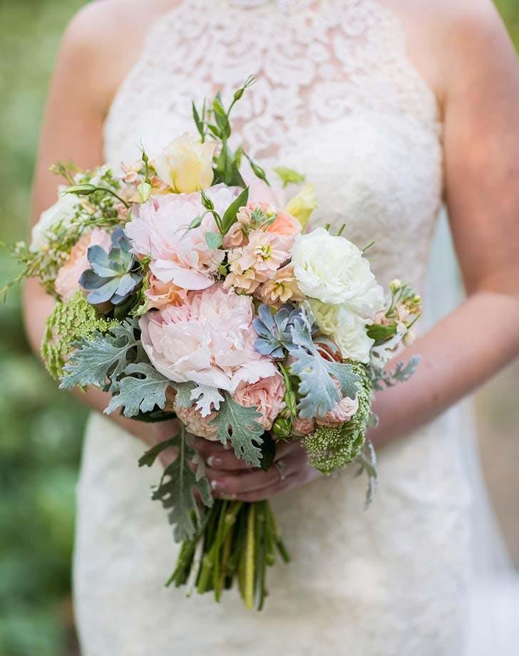 peony succulent wedding bouquet