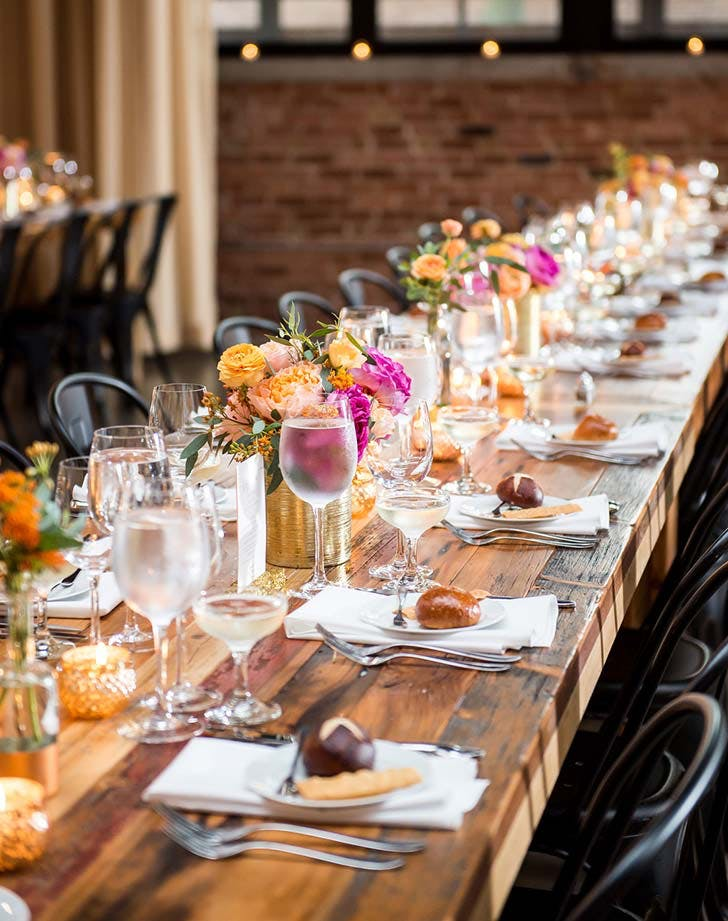 pink orange wedding tablescape