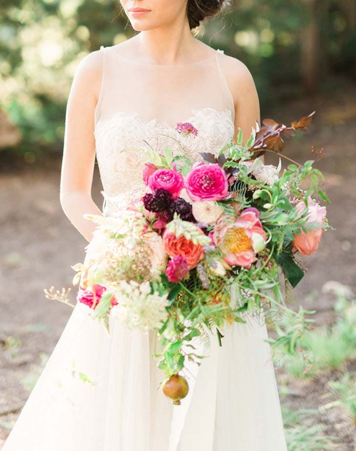 pink ranuncuus wedding bouquet